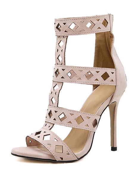 Suede Gladiator Sandals Nude High Heel Cut Out Zipper Stiletto Heel Sandals