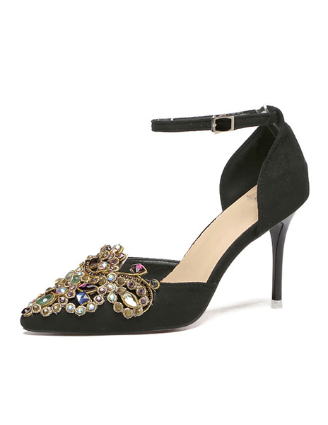 Black High Heels Suede Pointed Toe Rhinestone Beaded Ankle Strap Stiletto Pumps фото