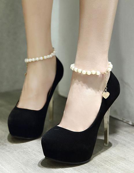 Milanoo / Zapatos de plataforma de felpa con perlas Color liso estilo dulce
