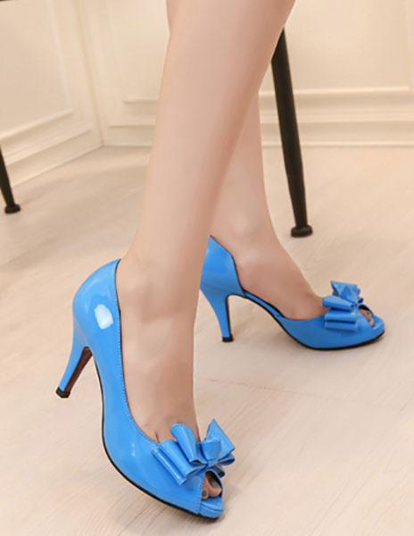 Milanoo / Zapatos Peep toe Charol PU color liso con lazo estilo moderno