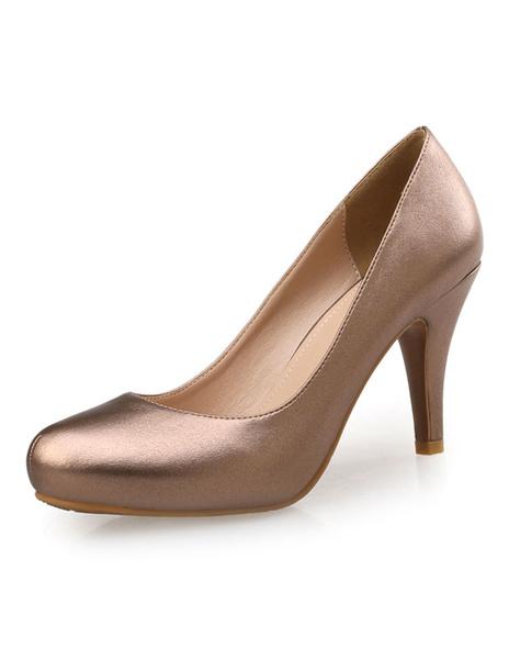 Gold Platform Pumps Shoes Slip On High Heels For Women Milanoo