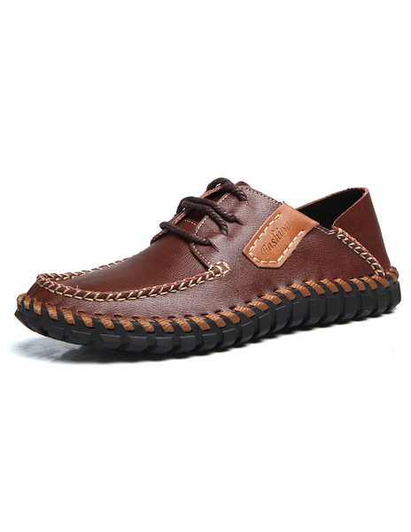 Brown Casual Shoes Men's Lace Up Round Toe Stitching Flats фото