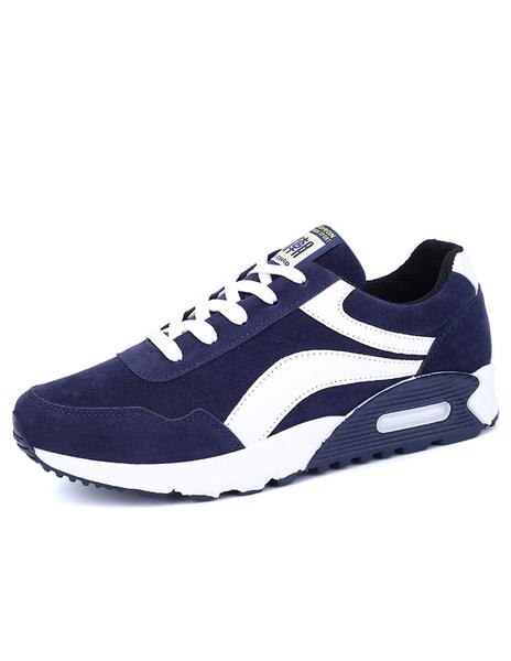 Мужские синие кроссовки замши на шнуровке двухцветные спортивные туфли