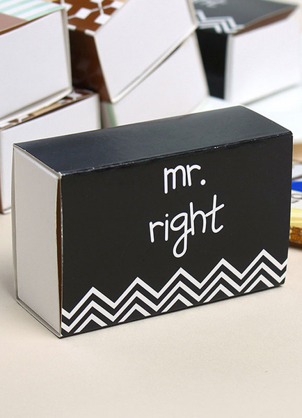 Wedding Favor Box Black Letters Printed Small Gift Box