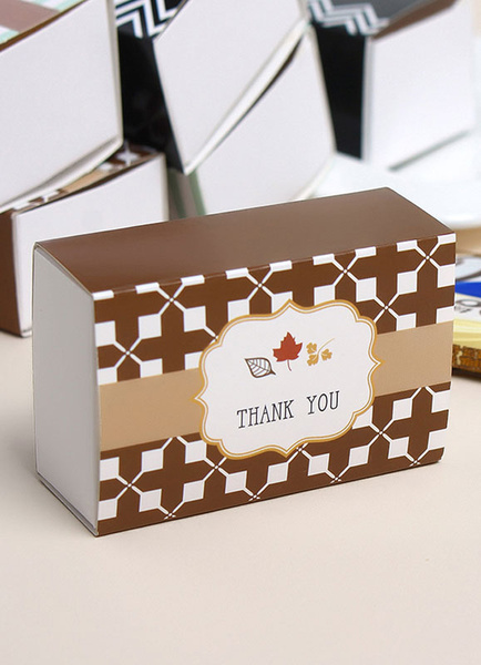 Wedding Favor Boxes Deep Brown Letters Printed Small Gift Box