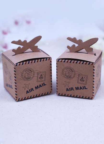 Wedding Favor Box Deep Brown Airplane Detail Antique Design Small Gift Box