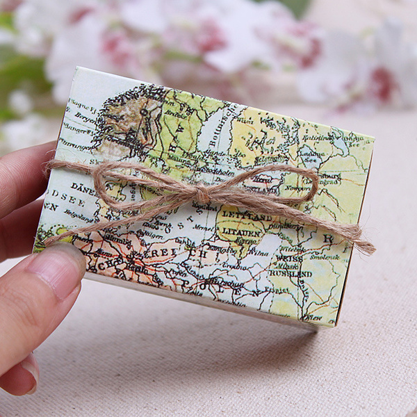 Wedding Favor Box Split Color Map Printed Small Gift Box With Bow