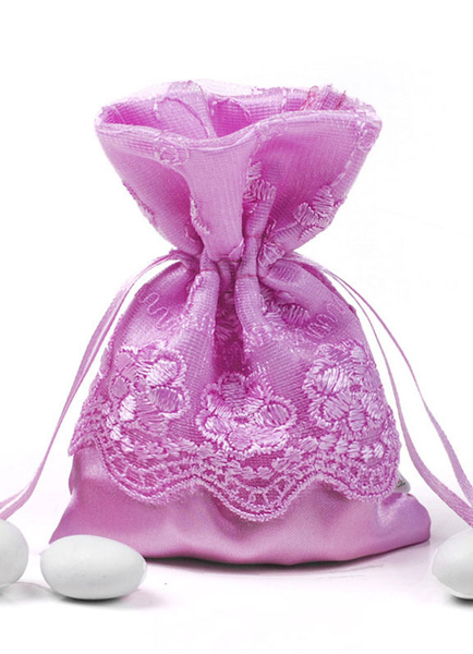 Wedding Favor Bags Lace Purple Drawstring Satin Wedding Candy Bags(12 Pcs A Set )