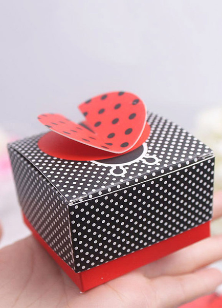 Wedding Favor Box Black Designed Polka Dot Small Gift Box