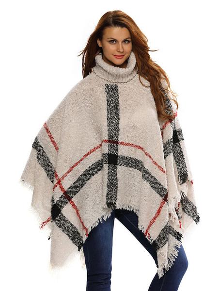 Poncho pull col abricot clair Plaid des femmes surdimensionné Poncho tricot avec frange