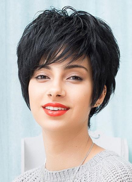 Black Human Hair Short Wigs Layered Side Swept Bangs Women's Wig фото