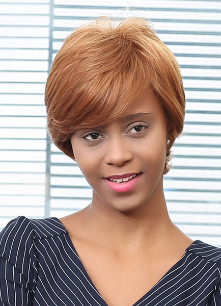 Human Hair Wigs Blonde Side Parting Layered Short Hair Wigs фото
