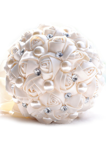 Wedding Flower Bouquet Ivory Satin Pearls Rhinestone Beaded Bridal Bouquet
