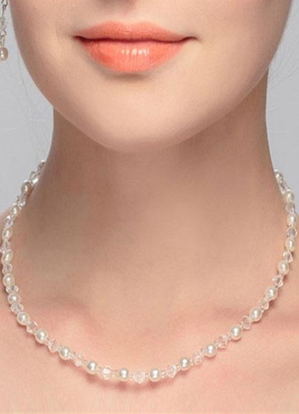 Vintage Wedding Necklace Pearls Crystal White Beaded Bridal Necklaces фото