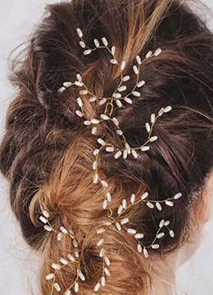 Beach Wedding Headpieces Boho Pearls Bridal Hair Jewelry Branch Style Ivory Hairpins In 3 Pcs