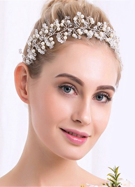 Pearl Wedding Headpieces Transparent Rhinestone Beaded Bridal Headband