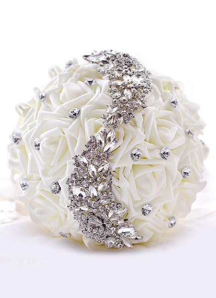 Wedding Flower Bouquet Rhinestones Beaded Silk Flowers Bridal Bouquet In White