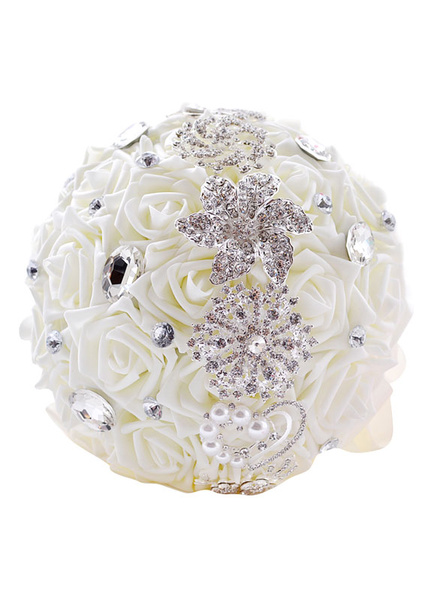 Wedding Flower Bouquet White Pearls Rhinestone Beaded Hand Tied Silk Flowers Bridal Bouquet