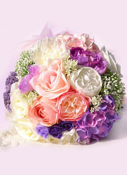 Wedding Flower Bouquet Purple Ribbons Hand Tied Silk Flowers Bridal Bouquet