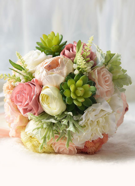 Succulent Wedding Bouquet Silk Flowers Lace Ribbons Hand Tied Multicolor Bridal Bouquet