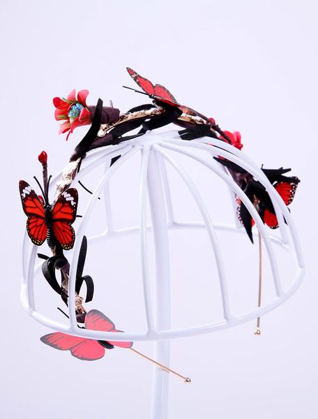 Red Wedding Headband Rhinestone Butterfly Flower Detail Bridal Headpiece