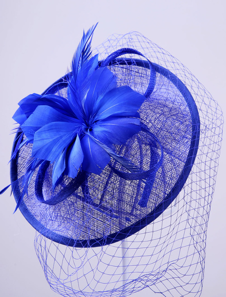 Royal Wedding Headpieces Deep Blue Feather Fascinator Bridal Birdcage Veil