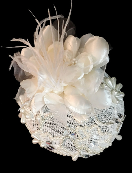Royal Wedding Headpieces Lace Pearl Bridal Hat Cocktail Hair Accessories фото