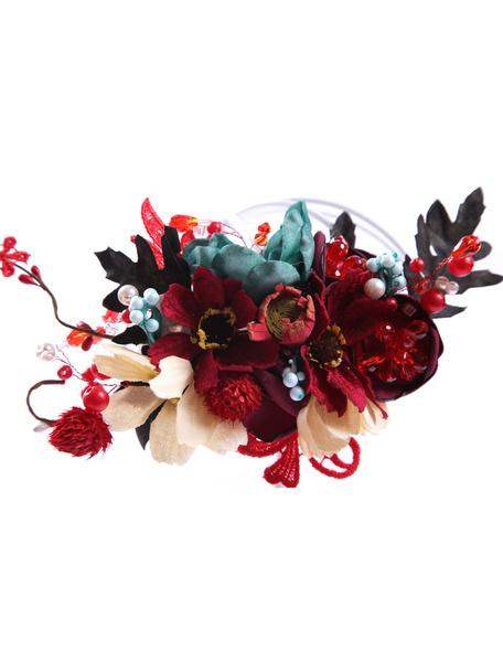 Wedding Floral Headpieces Burgundy Pearl Rhinestone Bridal Floral Hair Clip фото