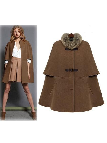 Women's Cape Coat Faux Fur Collar Camel Woolen Buckle Up Oversized Coat фото