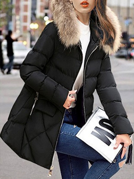 Image of Women Puffer Jacket Black Faux Fur Hooded Zip Up Quilted Jacket