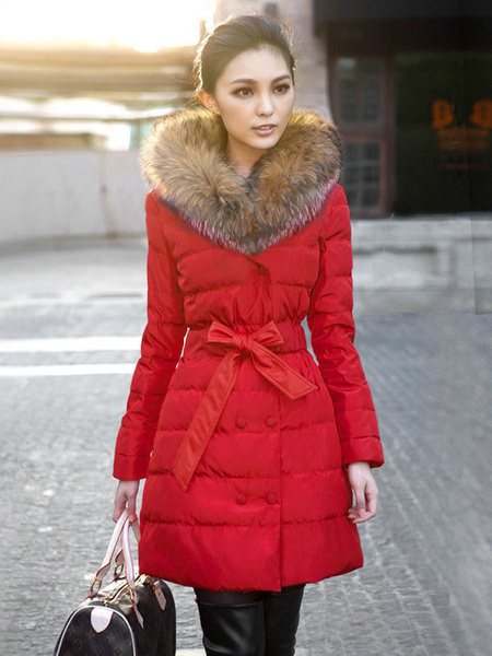Red Winter Coat Faux Fur Hooded Women's Double Breasted Puffer Quilted Coat With Ribbon Bow фото
