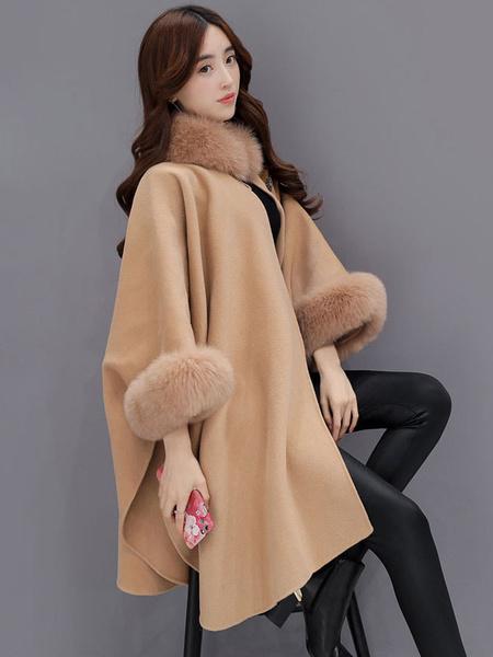 Image of Plus Size Poncho Coat Women's Faux Fur Collar Wool Blend Winter Coat In Light Tan