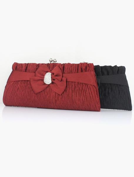 Classique strass soie Bow Decor embrayage sac à main se décline en 3 couleurs chaîne amovible
