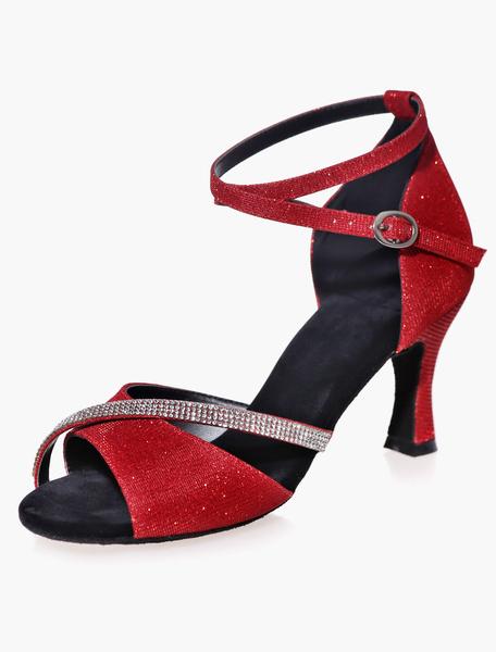 Ankle Strap Rhinestones Black Glitter Ballroom Shoes Milanoo
