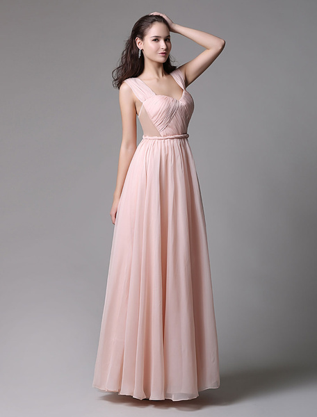 A-Line Pink Chiffon Prom Dress With Sweetheart Neckline and Side Cut Out