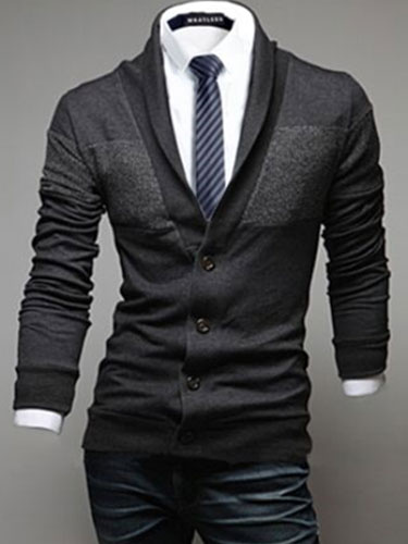 Dark Navy Buttons Cotton Blend Cardigan For Men фото