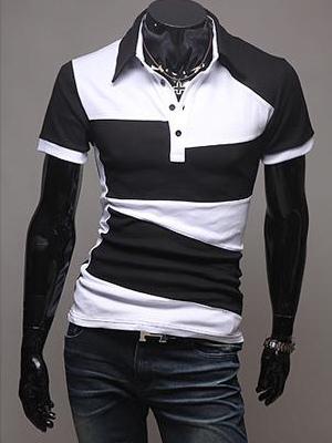 Рубашка двухцветная хлопка с коротким рукавом мужская Поло