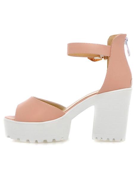 Pink Elegant Platform Peep Toe PU Sandals for Women фото