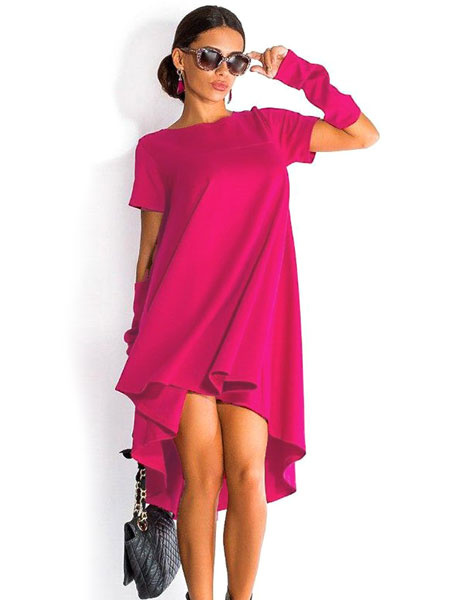 Red Hi-Lo Polyester Shift Dress For Women фото