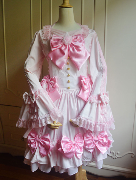Dulce Rosa Lolita Vestido Largas Hime Mangas Lazo Milanoo