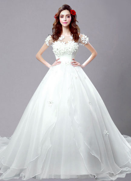 Ivory Wedding Dress Applique Flowers Sheer Lace Organza Wedding Gown
