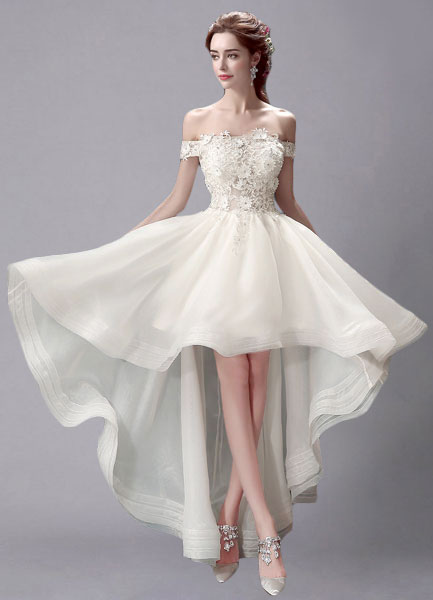 Ivory Wedding Dress High-Low Off-the-Shoulder Lace Wedding Gown фото