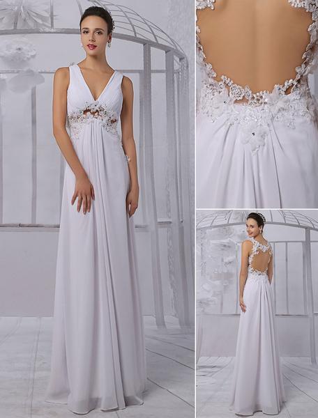 Empire Chiffon V-neck Illusion Back Wedding Dress With Floral Applique Milanoo