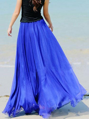 Blue Chiffon Maxi Skirt With Ruffles for Women фото