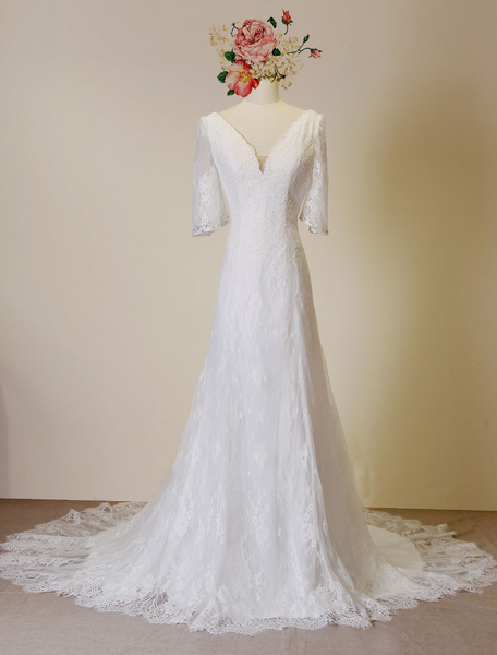 High Qulity Backless Lace Wedding Dress Plunging Chaple Train Ivory A-Line Beading Bridal Gown фото