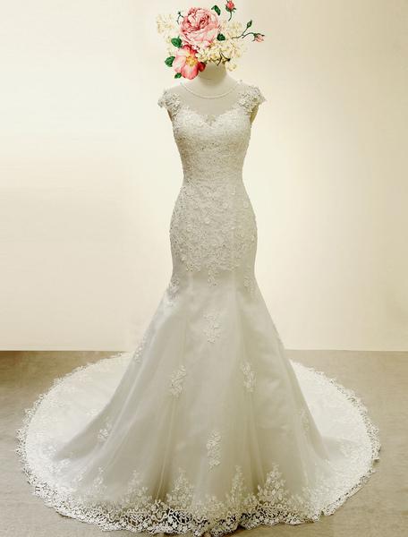 High Qulity Lace Mermaid Wedding Dress Illusion Chaple Train Ivory Beading Bridal Gown фото