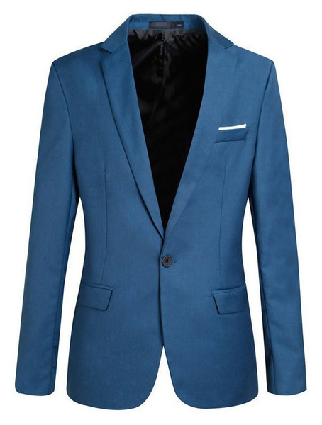 Blazer Jacket with Faux Pocket in Slim Fit Milanoo