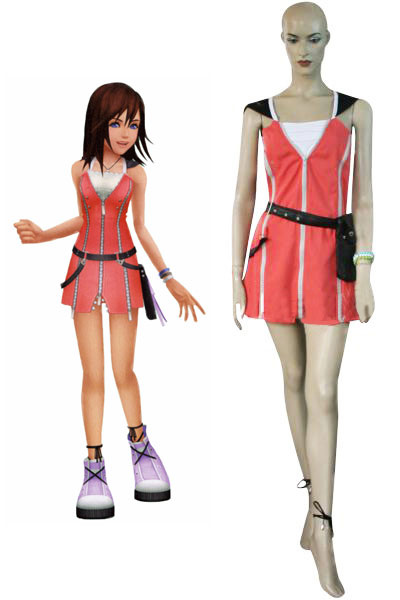 Kingdom Hearts Kairi Red Dress Cosplay Costume фото
