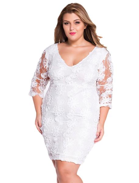 V-neck Lace Bodycon Dress