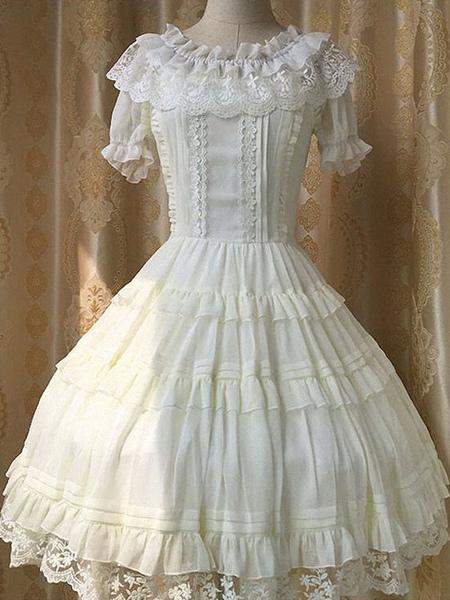 Milanoo / Lolita blanco Blusa volantes blusa de Gasa y encaje